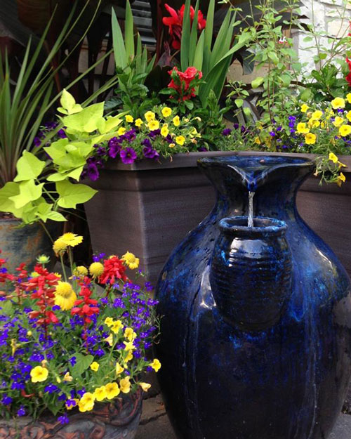 Blue Pot in Garden